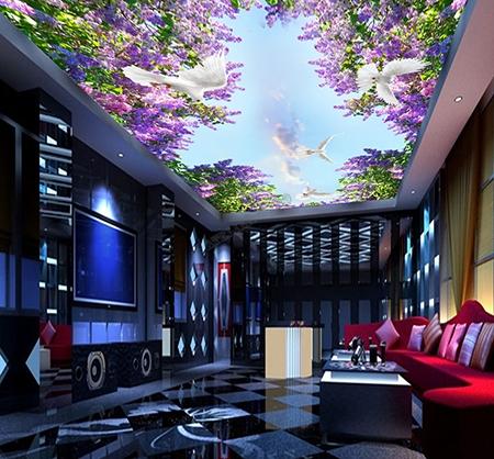 fleur violette,glycine,oiseau blanc,pigeon,décor plafond,décor plafond personnalisé,plafond tendu,papier peint plafond,plafond tendu personnalisé,décoration plafond personnalisé,décor plafond imprimé,plafond tendu imprimé,décoration plafond imprimé
