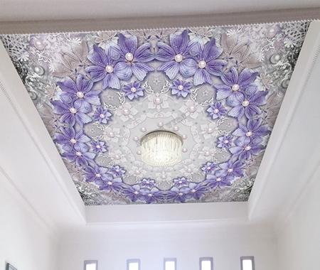 décor romantique,fleur violette,perle,dentelle,décor plafond personnalisé,plafond tendu,papier peint intissé plafond,plafond tendu personnalisé,décoration plafond personnalisé,décor plafond romantique,plafond tendu imprimé,décoration plafond imprimé,décoration plafond floral,décoration plafond fleur violette