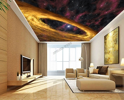 papier peint intissé décoration plafond salle de séjour univers galaxie spirale dorée,poster géant plafond chambre d'hôtel couleur chaude nuage jaune ciel violet étoile,plafond tendu lumineux galaxie voie lactée étoiles scintillantes