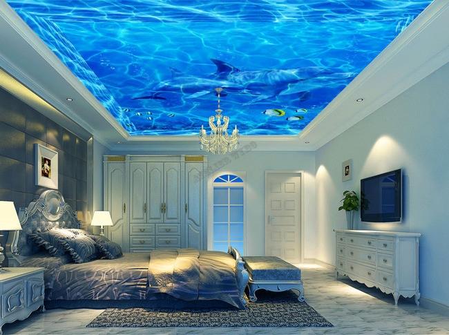 Plafond tendu imprim personnalis fond marin les dauphins - Decoration des plafonds ...