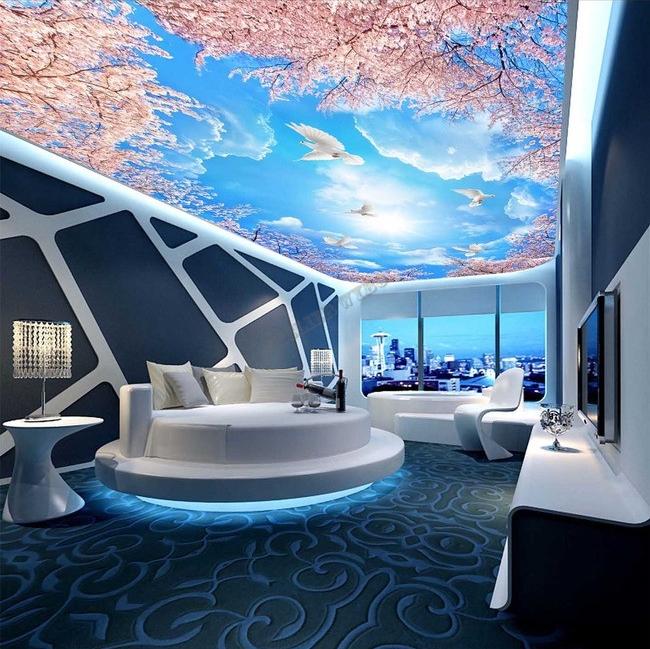plafond tendu cerisier,papier peint plafond cerisier,poster plafond fleur,décoration plafond ciel bleu,décor plafond,décor plafond fleur,faux plafond feuille d'arbre,plafond tendu imprimé,plafond tendu univers,papier peint plafond étoile,plafond fresque ancienne,plafond galaxie