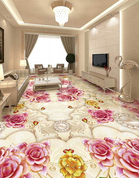 d coration florale rev tement de sol trompe l 39 oeil 3d les roses sur marbre effet bas relief. Black Bedroom Furniture Sets. Home Design Ideas