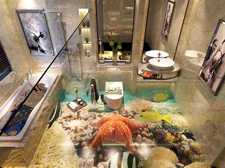 sol 3d résine époxy cuisine salle de bain trompe l\'oeil étoile de mer avec  les coraux et les poissons - Atelier WYBO