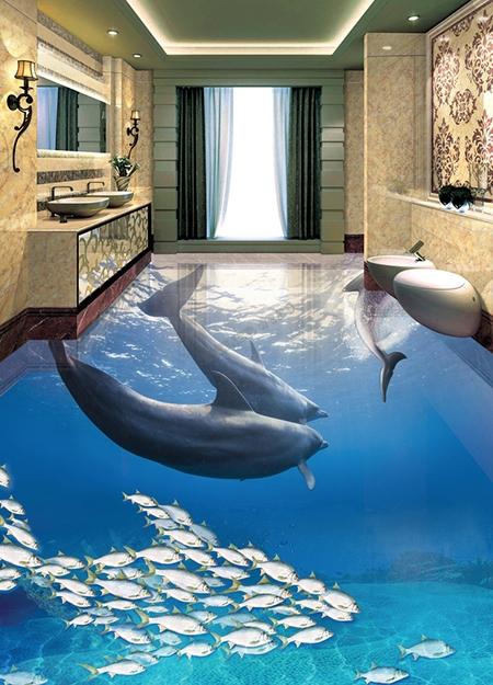 Rev tement sol 3d r sine salle de bain paysage fond marin for Salle de bain sol 3d