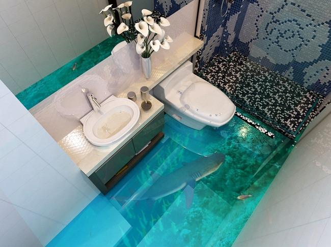 revêtement sol personnalisé, revêtement sol fond marin, revêtement sol requin, revêtement sol sur mesure, décoration d'intérieur
