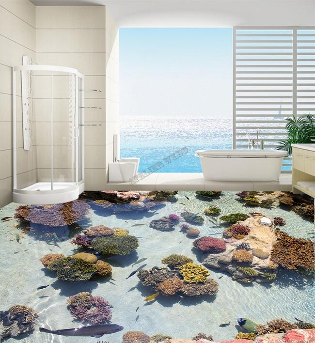 décoration d'intérieur, revêtement sol océan, revêtement sol mer tropical, revêtement sol personnalisé, revêtement sol poisson tropical, revêtement sol barrière de corail, revêtement sol sur mesure