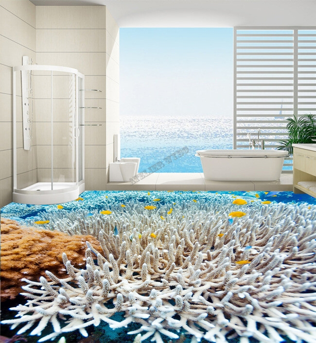 rev tement de sol personnalis mer tropicale les coraux et les poissons papier peint sol 3d. Black Bedroom Furniture Sets. Home Design Ideas