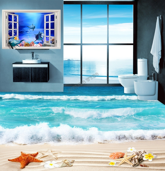rev tement de sol personnalis paysage romantique la plage tropicale papier peint sol 3d. Black Bedroom Furniture Sets. Home Design Ideas