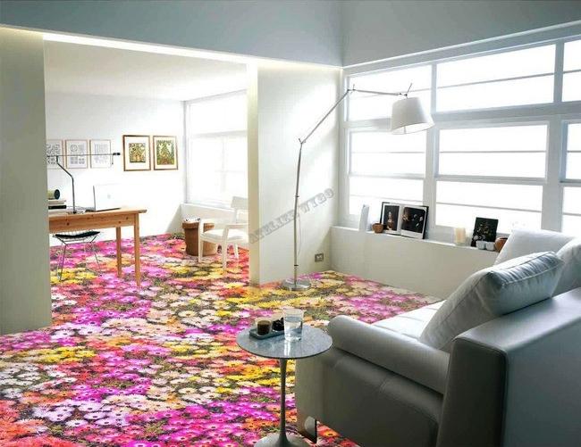 rev tement de sol design personnalis le tapis de fleurs en printemps papier peint sol 3d. Black Bedroom Furniture Sets. Home Design Ideas