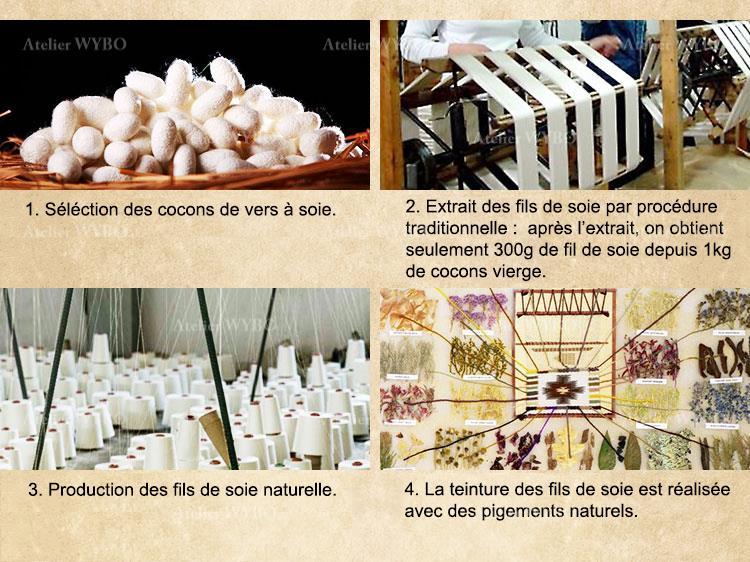 tapis de luxe en pure soie naturelle noué main signé Atelier WYBO,matière noble,l'extrait des fils de soie par procédure traditionnelle depuis cocons de vers à soie séléctionés
