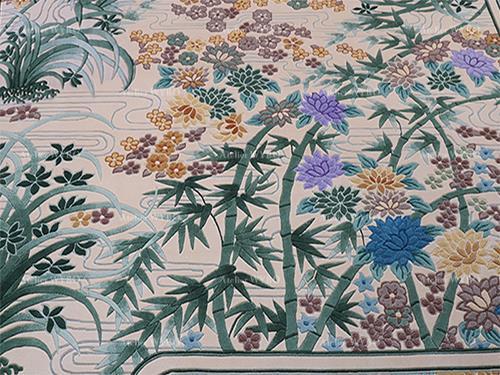 tapis chic asiatique séjour chambre fait à la main motif bambou orchidée velours en relief,tapis haut de gamme pure soie naturelle noué à la main jardin floral lotus violet petites fleurs de printemps ondulation d'eau