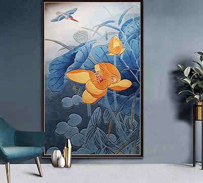tapis chinois fleurs et oiseaux ton bleu fabrication sur mesure en pur laine de Nouvelle-Zélande tufté à la main velours sculpté en relief,reproduction peinture à l'encre de Chine sur tapis fait à la main signé Atelier WYBO format personnalisé design sur mesure,cherche tapis bleu floral séjour salle à manger chambre salle de bain fleur jaune et oiseau bleu tufté à la main