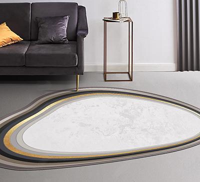 décoration sol tapis de luxe pur laine vierge fait à la main design contempotain forme irrégulière couleur beige doré marron gris,tapis laine moderne forme ondulée séjour salle à manger couleur beige sable bordure dorée