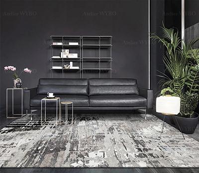 Acheter tapis personnalisé couleur gris salon séjour bureau chambre,tapis en laine ton gris et noir design moderne signé Atelier WYBO couleur dégradée velours sculpté en relief tufté à la main production sur mesure,vente tapis chambre descente de lit couleur grise argentée matière de qualité écologique pur laine de Nouvelle-Zélande