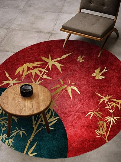 tapis en laine tufté à la main style japonais bambou doré sur fond rouge et vert,acheter tapis laine luxe personnalisé bambou séjour chambre bureau,prix tapis en laine fait main grande qualité sur mesure,tapis rouge vert or design japinais bambou zen,tapis 3d pur laine tufté à la main motif bambou japonais velours en relief,tapis luxe chambre d'hôtel fabrication artisanale design japonais bambou doré fond rouge vert