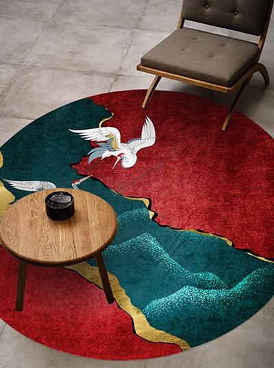 manufacture tapis laine chinois fait à la main,tapis asiatique zen artisanal tufté à la main,tapis sol oiseau japonais laine rouge turquoise or,tapis chambre style japonais rouge doré grue montagne,tapis laine séjour oiseau rouge vert bleu or,tapis laine noué à la main oiseau japonais rouge turquoise