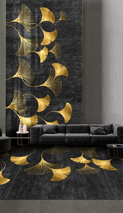tapis mural japonais personnalisé feuille dorée sur fond noir,tapis de luxe en laine style asiatique feuille or fond noir,tapis chinois noir or en pur laine tufté à la main sur mesure chambre d'hôtel,décoration salon villa de luxe tapis artisanal noué à la main feuille dorée de Ginkgo Biloba sur fond noir