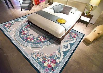 acheter tapis fleur multicolore chambre desecente de lit format personnalisé,tapis de luxe sur mesure velours 3D en relief style floral ambiance romantique en laine et soie tufté à la main,tapis salon petites fleurs de printemps pur laine de Nouvelle-Zélande fait à la main fleur rouge rose jaune fond beige et bleu