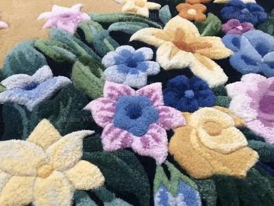 acheter tapis en laine motif fleur violette et jaune format personnalisé séjour salon chambre à coucher,tapis de luxe fait à la main décoration romantique fleur perle dentelle pur laine de Nouvelle-Zélande velours 3D en relief