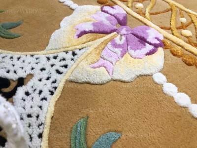 Tapis 3d fleur violette chambre fille fond jaune et bleu perles et dentelles en relief,tapis haut de gamme sur mesure fait à la main fleur de printemps nœud papillon rose velours sculpté en pur laine de Nouvelle-Zélande pièce unique
