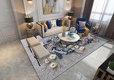 tapis 3d personnalisé Atelier WYBO pour salle de séjour velours épais en relief paysage fond marin coraux tropicaux,tapis de luxe motif océan corail en 3D pur laine fait à la main velours sculpté en relief avec différentes hauteurs pour salon chambre bureau
