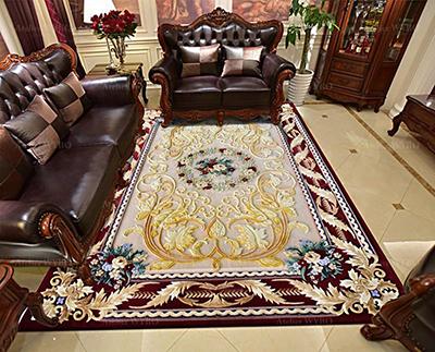 tapis 3D pur laine haute qualité design floral Atelier WYBO séjour chambre descente de lit style baroque classique,tapis en soie personnalisé petites fleurs et feuilles d'acanthe fabrication sur mesure tufté à la main velours sculpté en relief par rasoire et ciselure