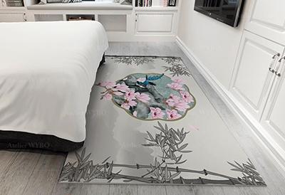 tapis descente de lit personnalisé pur laine fond gris motif floral magnolia rose et oiseau bleu,tapis chinois sur mesure fleur et oiseau paysage et bambou effet grisaille fait à la main en laine de Nouvelle-Zélande velours sculpté en relief