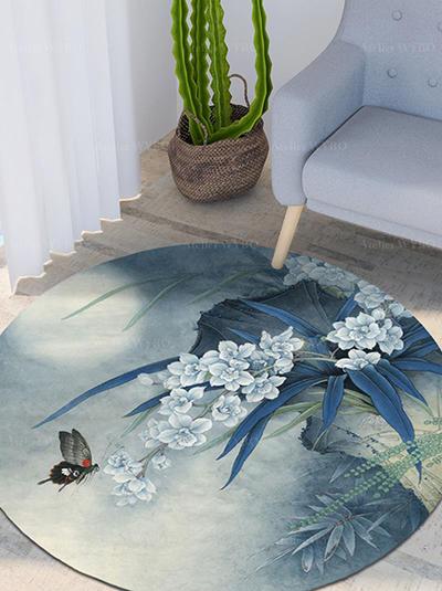 tapis rond personnalisé séjour chambre descentede lit salel de bain motif fleur zen couleur dégradée,tapis bleu en laine haut de gamme forme ronde design asiatique orchidée et papillon en pleine lune,tapis de luxe en pur laine de Nouvelle-Zélande tufté à la main reproduction d'une peinture chinoise orchidée fougère bambou rocher velours en relief