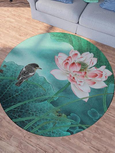 acheter tapis rond fleur oiseau personnalisé salon salle à manger chambre descente de lit,tapis en laine chinoiserie lotus rose et oiseau d'eau fond vert fait à la main fabrication sur mesure velours sculpté en relief,tapis rond design asiatique zen signé Atelier WYBO en fils de soie tufté à la main lotus et oiseau dans l'étang ambiance d'été
