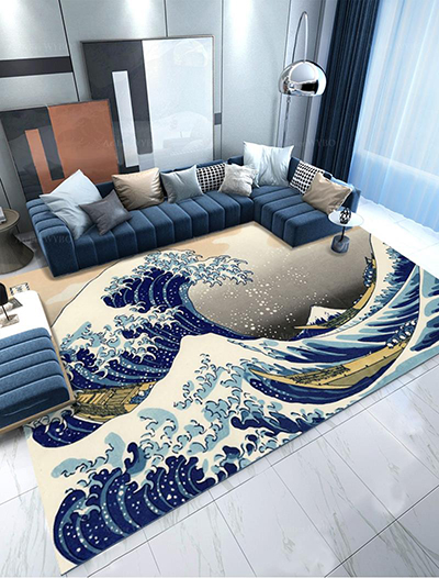 vente tapis japonais personnalisé boutique Atelier WYBO Valbonne Sophia Antipolis Nice Cannes Antibes,tapis de luxe fait à la main pur laine de qualité reproduction estampe japonaise la grande vague de Kanagawa de Katsushika Hokusai,décoration salon séjour tapis bleu asiatique design japonais traditionnel en pur laine de Nouvelle-Zélande tufté à la main velours en relief production sur mesure pièce unique