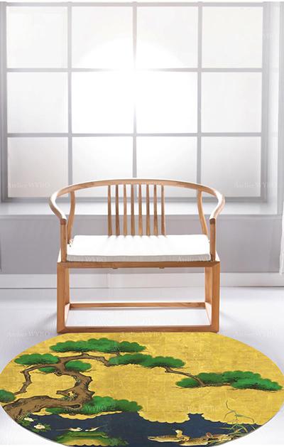 acheter tapis haut de gamme sur mesure style japonais traditionnel ambiance zen,tapis japonais personnalisé arbre bonsai oiseau canard pur laine de Nouvelle-Zélande tufté à la main velours en relief,tapis rond jaune doré sur mesure séjour chambre descente de lit design asiatique vintage pin vert fleur rivière bleu