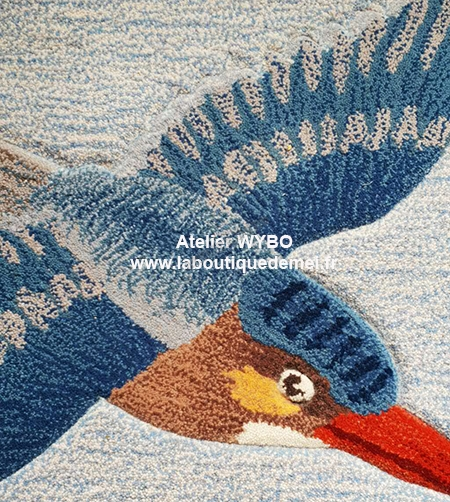 tapis oiseau,tapis moderne,tapis comtenporain,lotus,lotus jaune,tapis tufté main,tapis laine fleur,tapis laine zen,tapis laine fait main,tapis laine artisanal,tapis sol fleur,tapis zen,tapis lotus,tapis bleu,tapis laine sur mesure