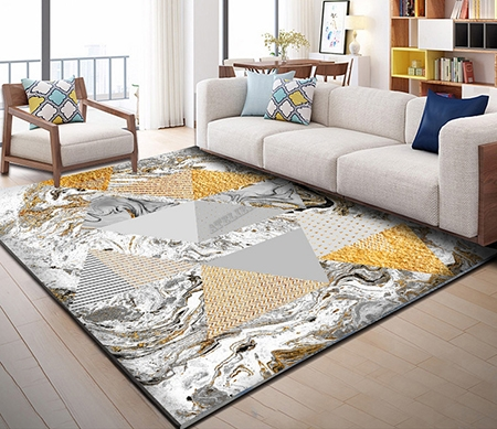 cr ation art moderne tapis sol en pure laine fait main motif avec les triangles couleur grise et. Black Bedroom Furniture Sets. Home Design Ideas