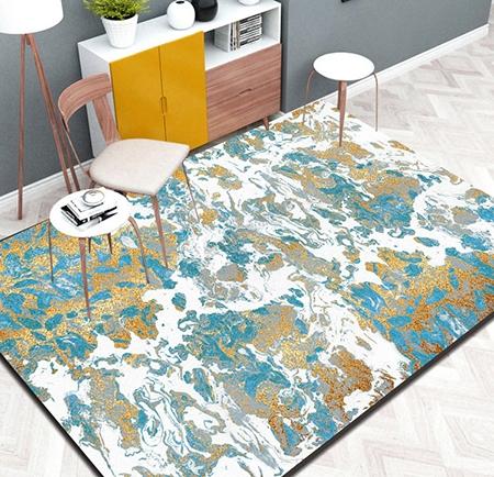d coration d 39 int rieur tricolore tapis sol moderne en pure laine nou la main couleur bleu. Black Bedroom Furniture Sets. Home Design Ideas