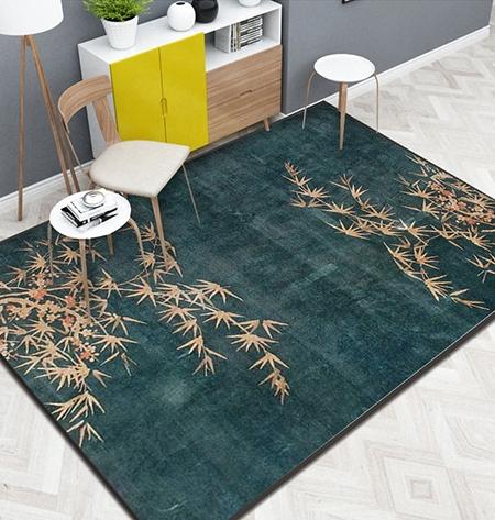 tapis sol pure laine nou la main style asiatique ambiance zen les bambous et les fleurs d. Black Bedroom Furniture Sets. Home Design Ideas