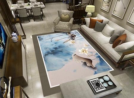 décoration d\'intérieur style asiatique tapis sol zen en laine tufté à la  main lotus blancs - Atelier WYBO