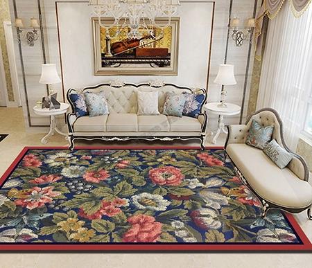 d cor floral tapis sol en laine tuft la main aspect ancien les fleurs sauvages sur fond bleu. Black Bedroom Furniture Sets. Home Design Ideas