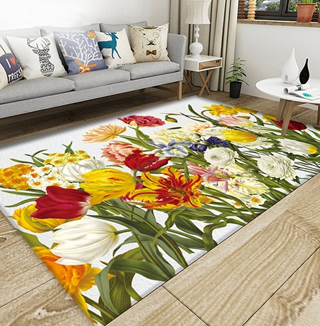 d coration d 39 int rieur multicouleur tapis sol moderne en pure laine nou la main les fleurs de. Black Bedroom Furniture Sets. Home Design Ideas