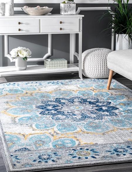 tapis artisanal traditionnel en pure laine nou la main motif tricolore fleur bleu fond gris. Black Bedroom Furniture Sets. Home Design Ideas