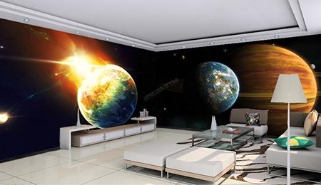 poster géant xxl cinéma univers planète étoile star wars,décoration salle d'attente papier peint intissé panorama 180 degrès jupiter terre rupture de soleil,tapisserie murale salle de réunion espace étoile planète géante avec anneau terre bleue