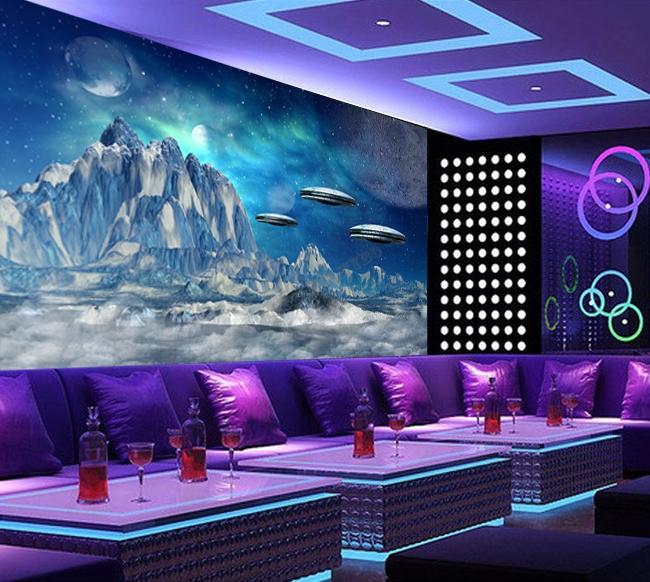 Papier peint photo science fiction sous coupes volantes volant dans plan te g - Papier peint planete ...