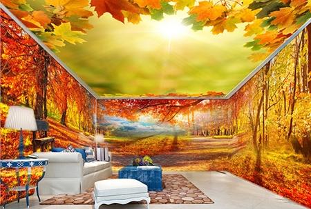 plafond tendu imprimé,plafond tendu personnalisé,plafond tendu ciel,plafond tendu ciel d'automne,décoration plafond ciel,décor plafond ciel d'automne,décoration plafond feuille d'automne,feuille d'automne,décoration d'intérieur faux plafond,faux plafond,décor faux plafond
