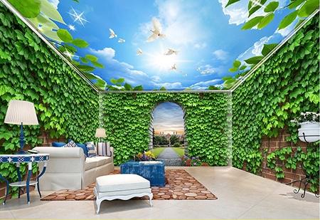 décor 3d,papier peint 3d,mur végétal,plafond ciel bleu,revêtement de sol feuille,papier peint mur végétal,papier peint vinyle,papier peint intissé,papier peint textile,tapisserie textile un seul morceau,décor plafod-mur-sol,sol 3d,plafond tendu
