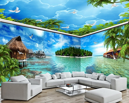 papier peint photo grand panoramique tapisserie paysage mer tropicale maison flottante le verte. Black Bedroom Furniture Sets. Home Design Ideas
