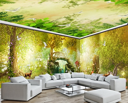 papier peint grand panoramique poster g ant paysage fantaisie petit pont dans la for t d 39 automne. Black Bedroom Furniture Sets. Home Design Ideas